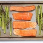 salmon on sheet pan with asparagus