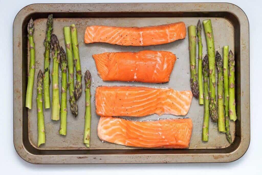 salmon on sheet pan with asparagus