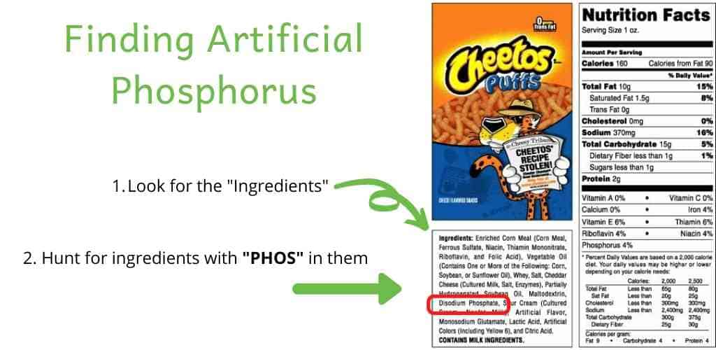 Finding artificial phosphorus on Cheetos Nutrition Facts label