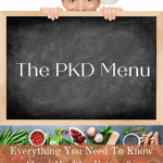 """Chef peeking over blackboard with writing """"The PKD Menu - Everything you need to know about healthy eating for Polycystic Kidney Disease"""""""